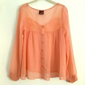 🍑LIKE NEW🍑 Peach Sheer L/S Blouse with Lace